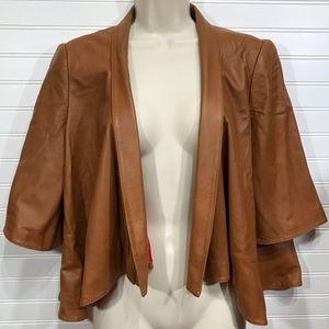Christian Siriano Cropped Leather Jacket EUC
